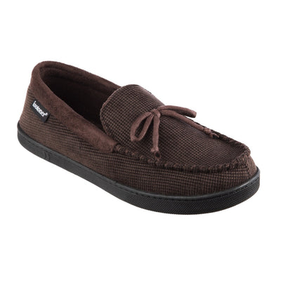 Men's Mini Box Cord Luke Moccasin with Lacing in Dark Chocolate Right Angled View