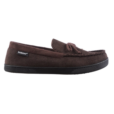 Men's Mini Box Cord Luke Moccasin with Lacing in Dark Chocolate Side Profile