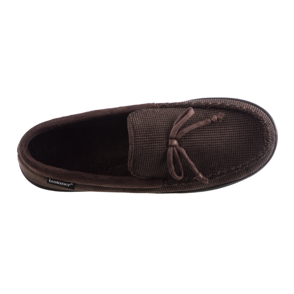 Men's Mini Box Cord Luke Moccasin with Lacing in Dark Chocolate Inside Top View