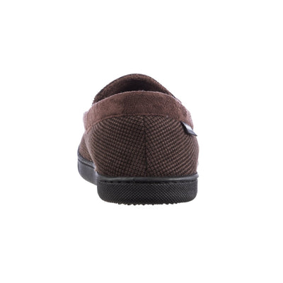 Men's Mini Box Cord Luke Moccasin with Lacing in Dark Chocolate Back Heel