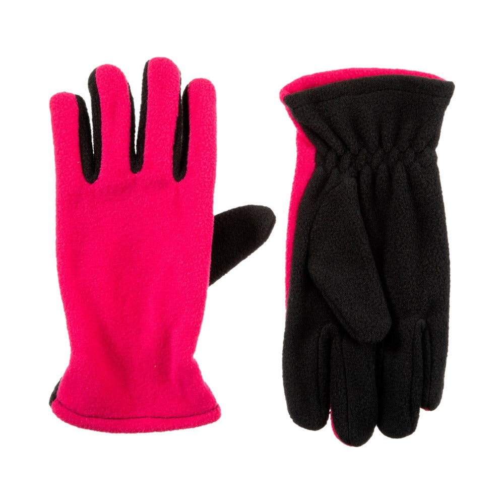 Kid's Fleece Gloves Bright in Pink Front and Back