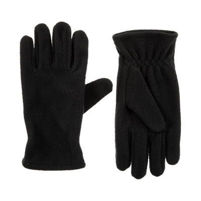 Kid's Fleece Gloves in Black Front and Back View