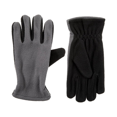 Kid's Fleece Gloves in Grey Front and Back View
