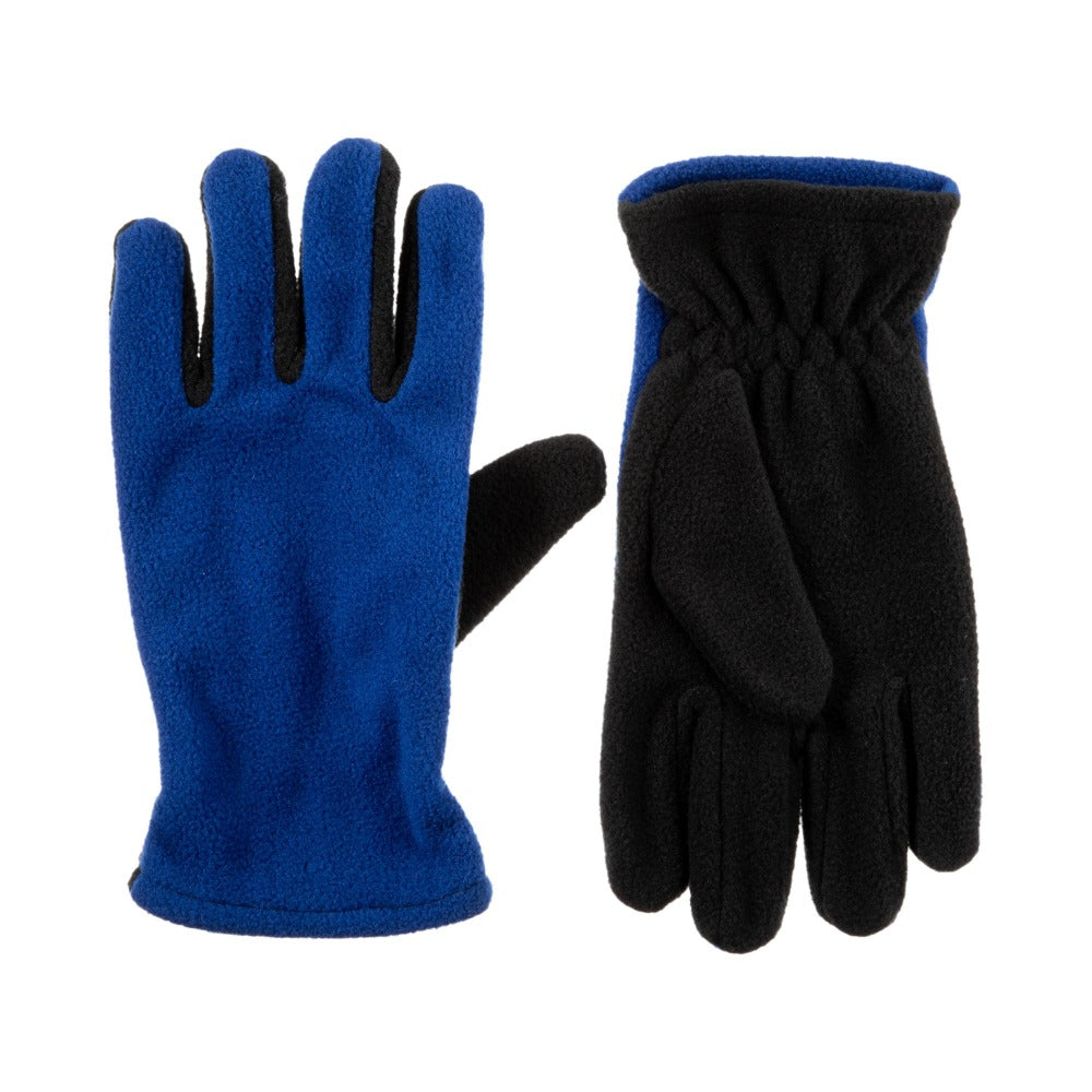Kid's Fleece Gloves in Lightning Blue Front and Back View