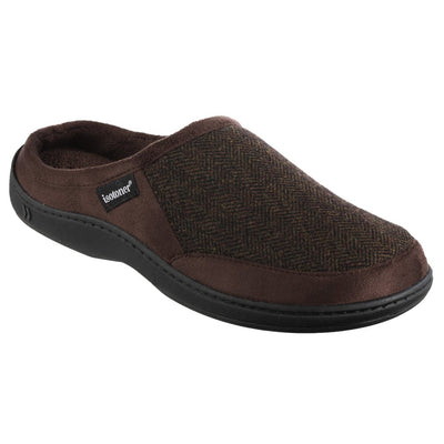 Men's Logan Microsuede Hoodback Slippers in Dark Chocolate Right Angled View