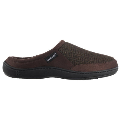 Men's Logan Microsuede Hoodback Slippers in Dark Chocolate Profile