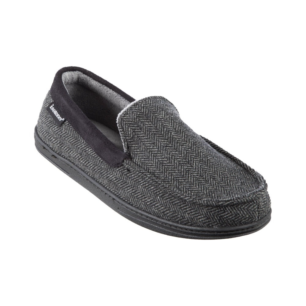 Men's Logan Herringbone Moccasin Slippers in Black Right Angled View