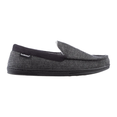 Men's Logan Herringbone Moccasin Slippers in Black