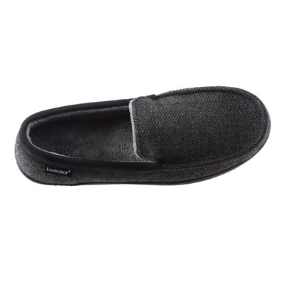 Men's Logan Herringbone Moccasin Slippers in Black Top View