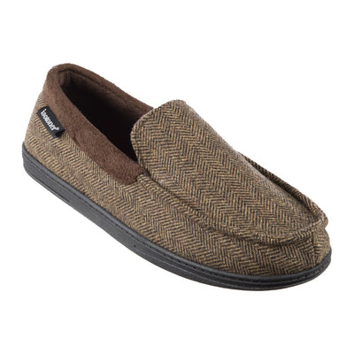 Men's Logan Herringbone Moccasin Slippers in Dark Chocolate Right Angled View