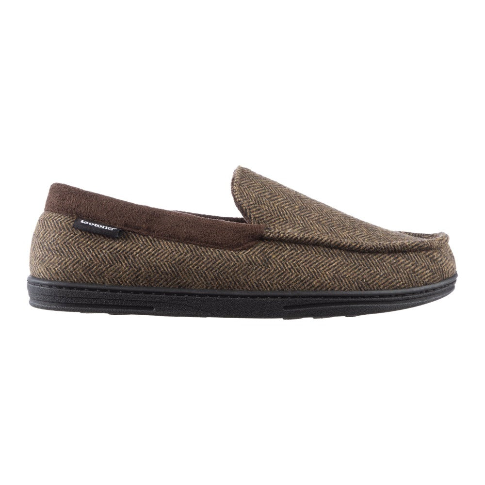Men's Logan Herringbone Moccasin Slippers in Dark Chocolate Profile View