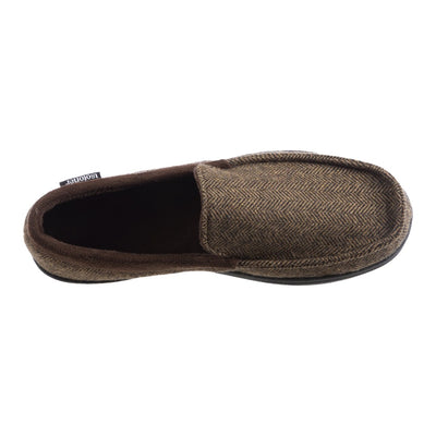 Men's Logan Herringbone Moccasin Slippers in Dark Chocolate Inside Top View