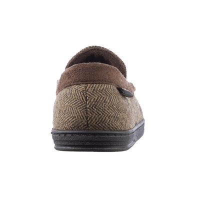 Men's Logan Herringbone Moccasin Slippers in Dark Chocolate Back Heel