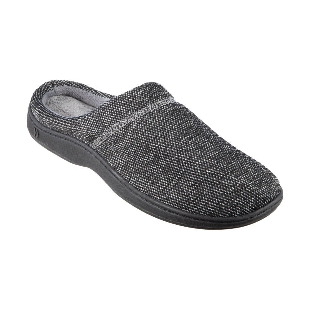 Men's Javier Mesh Hoodback Slippers Black Right Angled View