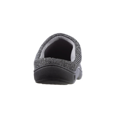 Men's Javier Mesh Hoodback Slippers in Black Heel View