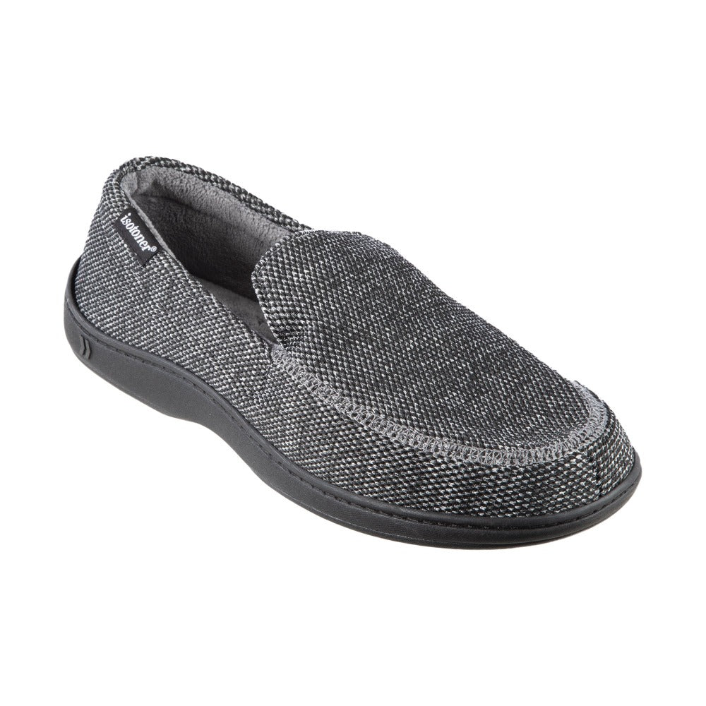 Men's Javier Mesh Closed Back Slippers in Black Right Angled View