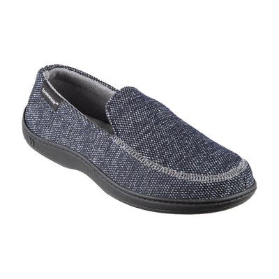 Men's Javier Mesh Closed Back Slippers in Navy Blue Right Angled View