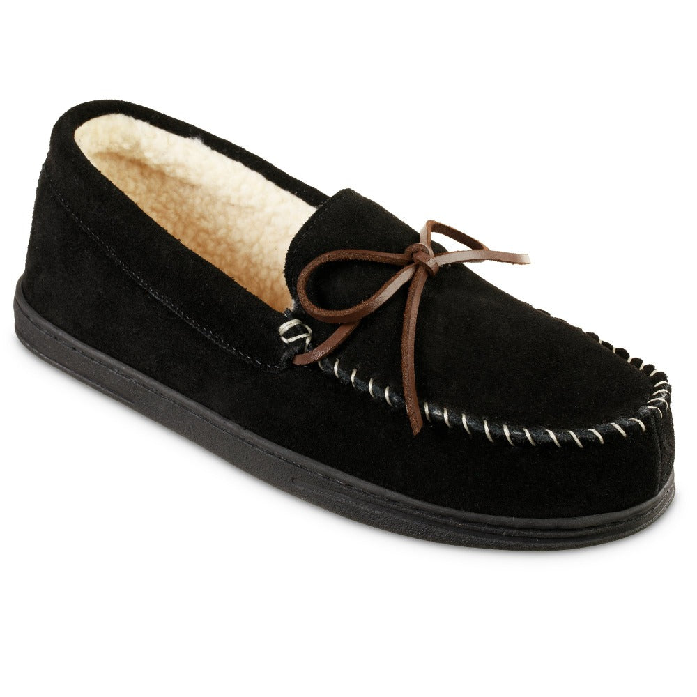 Men's Genuine Suede Moccasin Slippers in Black Right Angled View