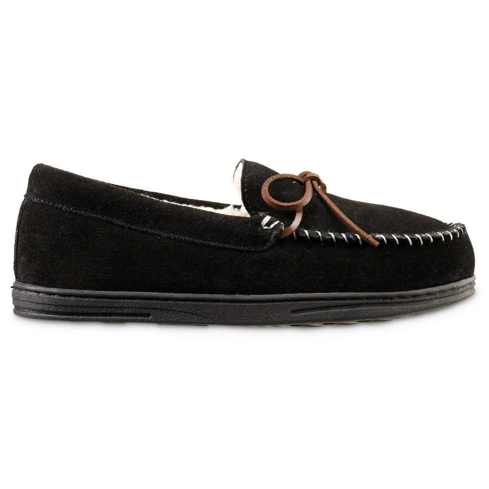 Men's Genuine Suede Moccasin Slippers in Black Profile