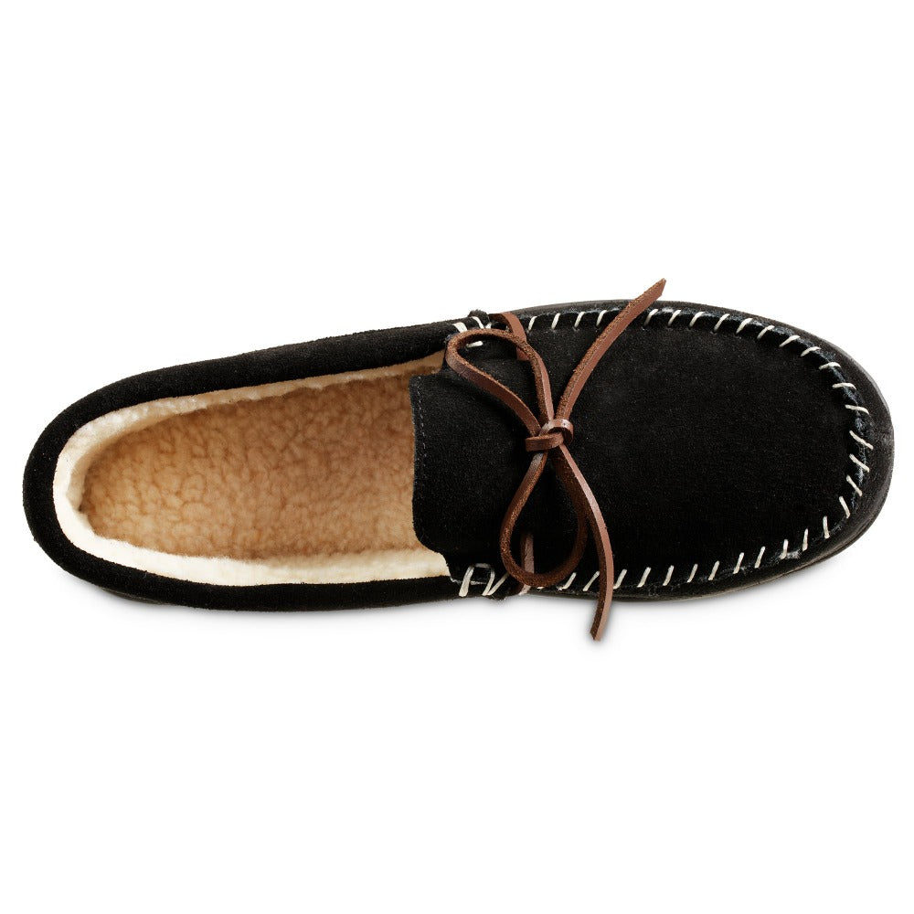Men's Genuine Suede Moccasin Slippers in Black Inside Top View