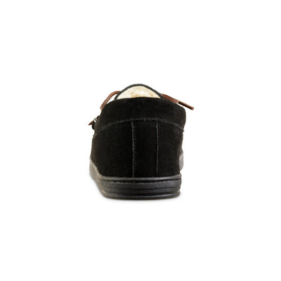 Men's Genuine Suede Moccasin Slippers in Black Back Heel