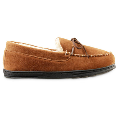 Men's Genuine Suede Moccasin Slippers in Buckskin tan Profile