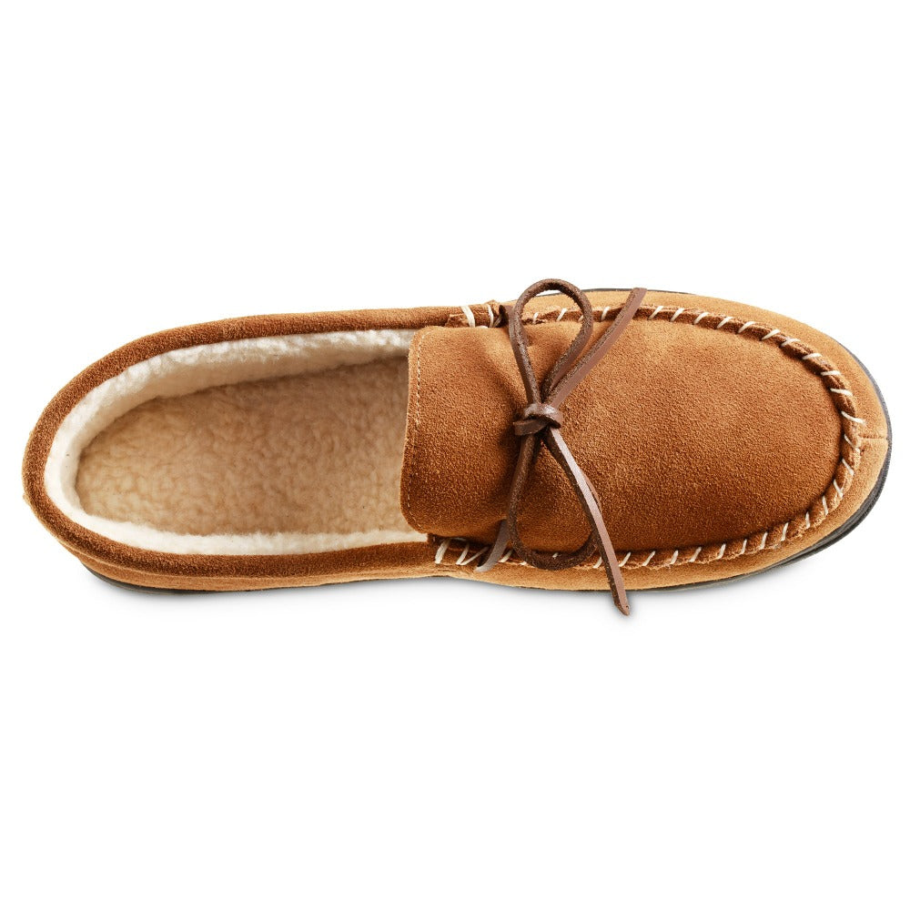 Men's Genuine Suede Moccasin Slippers in Buckskin Tan Inside Top View
