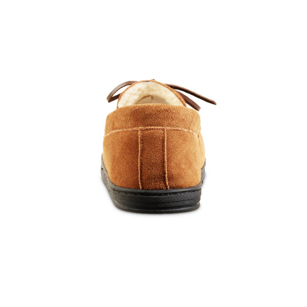 Men's Genuine Suede Moccasin Slippers in Buckskin Tan Back Heel