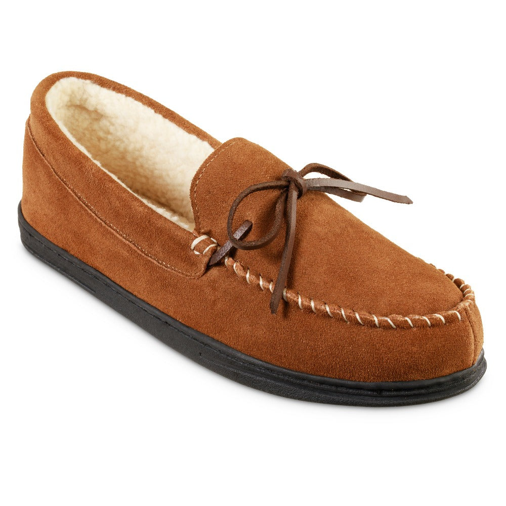 Men's Genuine Suede Moccasin Slippers in Buckskin Tan Right Angled View
