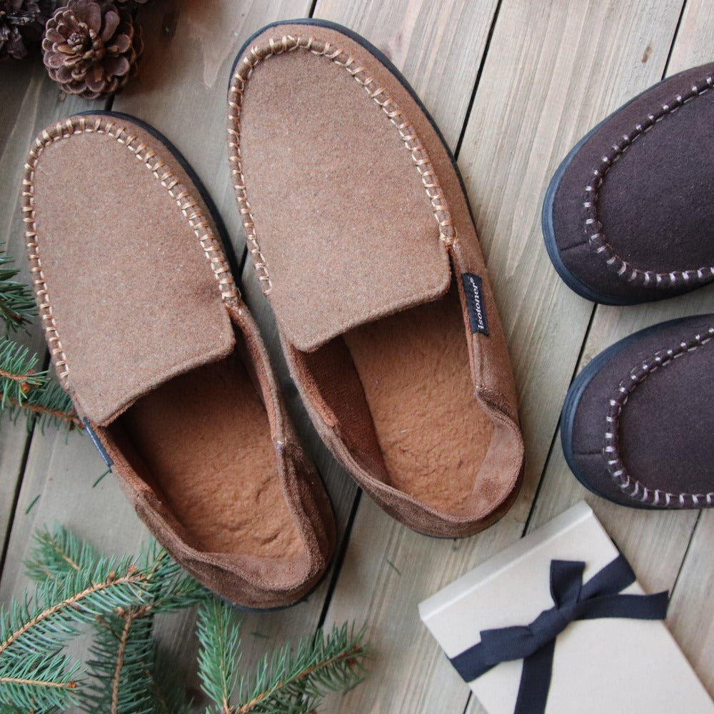 Men's Grady Faux Wool Moccasin Slippers with Collapsible Heel in Cognac (Tan) Lifestyle Image