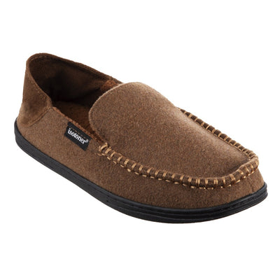 Men's Grady Faux Wool Moccasin Slippers with Collapsible Heel in Cognac (Tan) Right Angled View