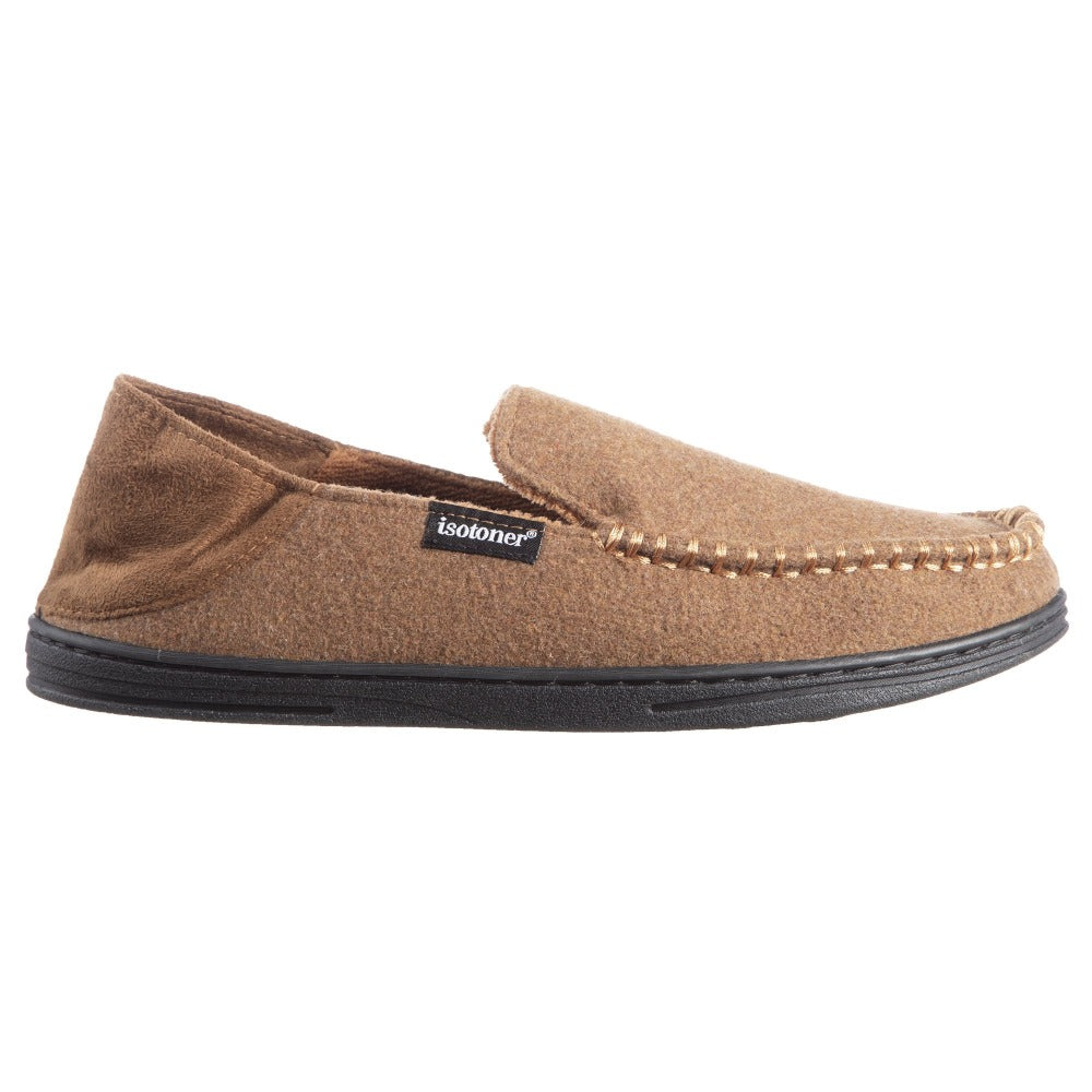Men's Grady Faux Wool Moccasin Slippers with Collapsible Heel in Cognac (Tan) Side Profile