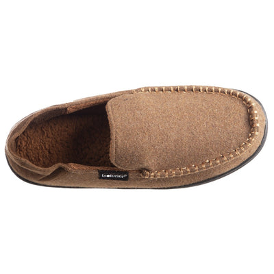 Men's Grady Faux Wool Moccasin Slippers with Collapsible Heel in Cognac (Tan) Top View