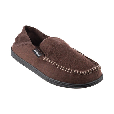 Men's Grady Faux Wool Moccasin Slippers with Collapsible Heel in Dark Chocolate Right Angled View
