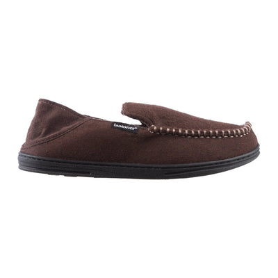 Men's Grady Faux Wool Moccasin Slippers with Collapsible Heel in Dark Chocolate