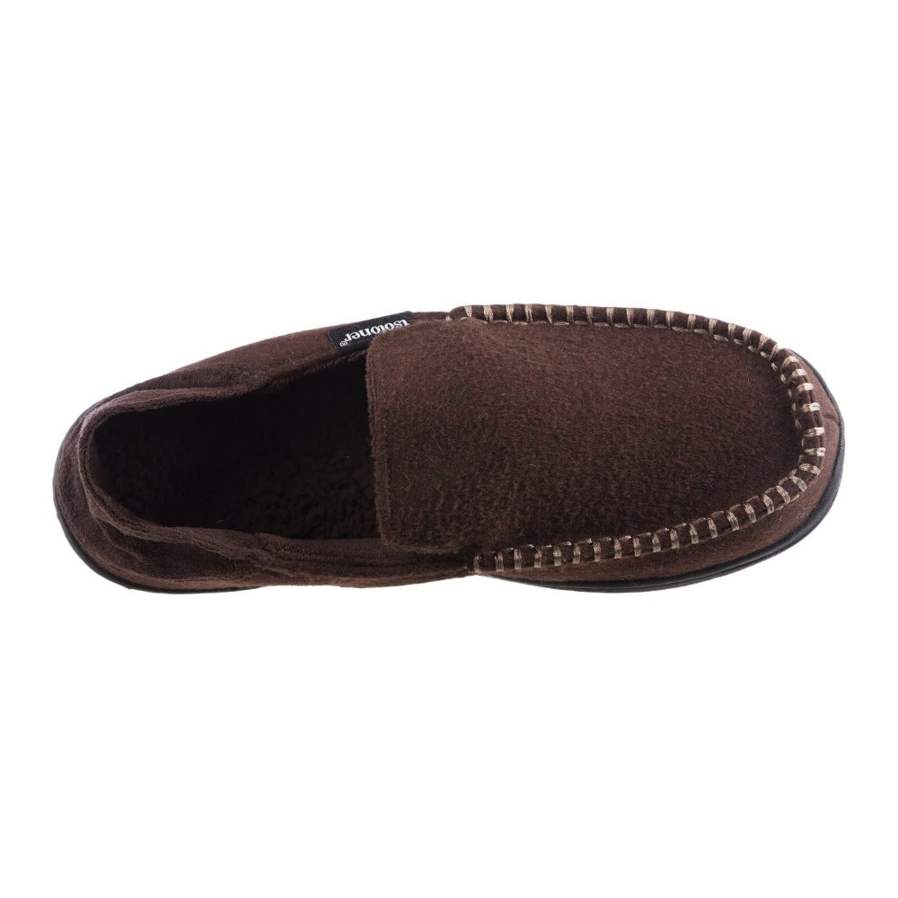 Men's Grady Faux Wool Moccasin Slippers with Collapsible Heel in Dark Chocolate Inside Top View