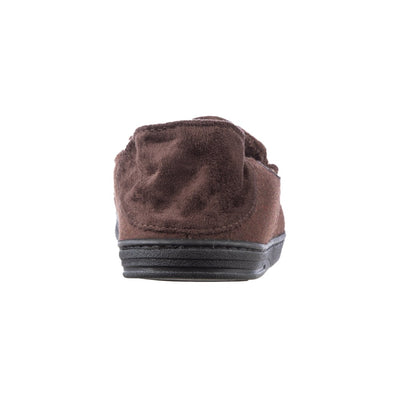 Men's Grady Faux Wool Moccasin Slippers with Collapsible Heel in Dark Chocolate Back Collapsible Heel