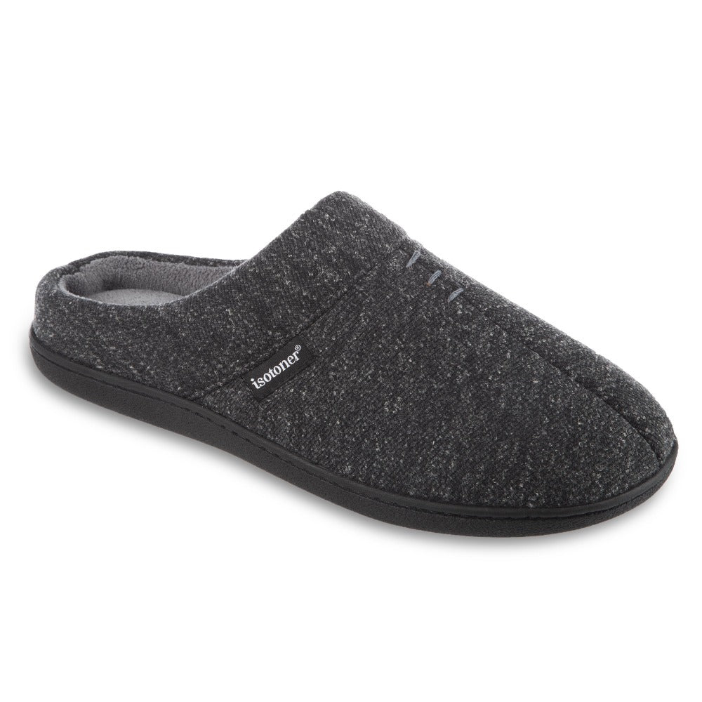 Men's Preston Heather Knit Hoodback Slippers in Dark Charcoal Heather Right Angled View
