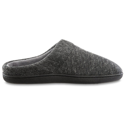 Men's Preston Heather Knit Hoodback Slippers in Dark Charcoal Heathered Side Profile