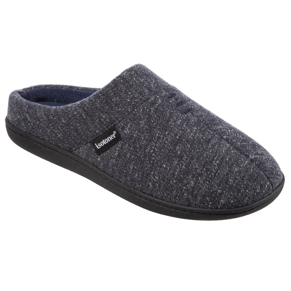 Men's Preston Heather Knit Hoodback Slippers in Navy Blue Right Angled View