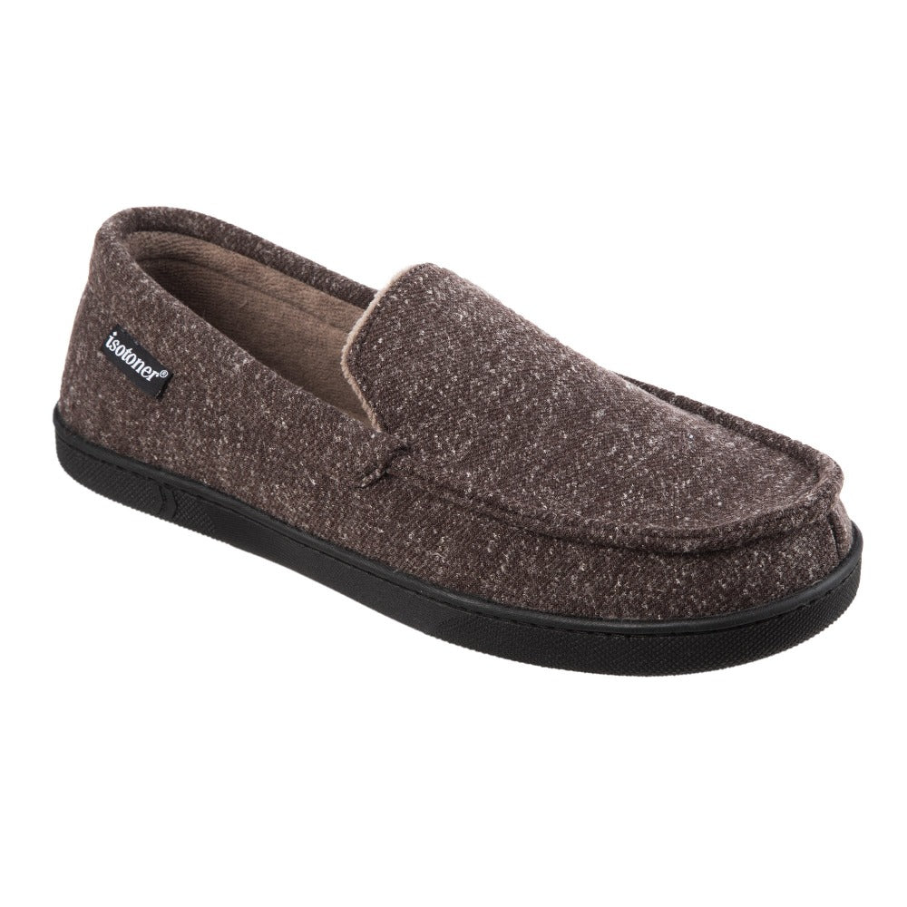 Men's Heather Knit Preston Moccasin Slippers in Dark Chocolate Right Angled View