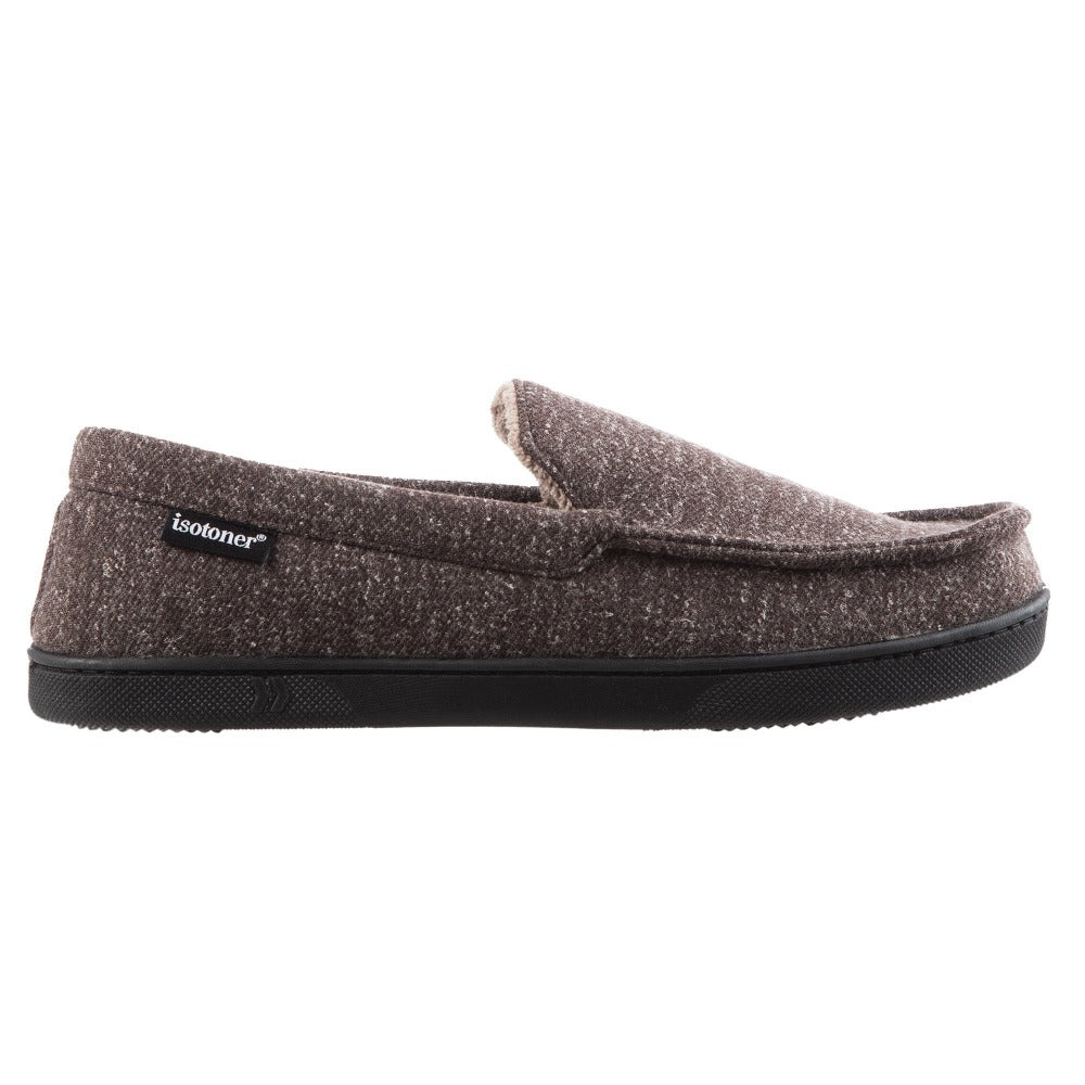 Men's Heather Knit Preston Moccasin Slippers in Dark Chocolate Side Profile
