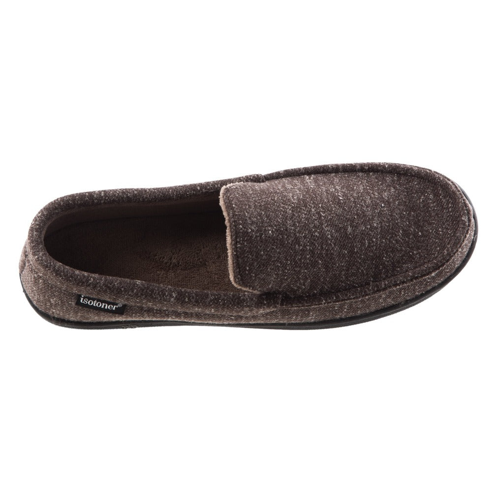 Men's Heather Knit Preston Moccasin Slippers in Dark Chocolate Top View