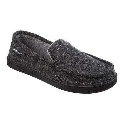 Men's Heather Knit Preston Moccasin Slippers in Dark Charcoal Heather Right Angled View