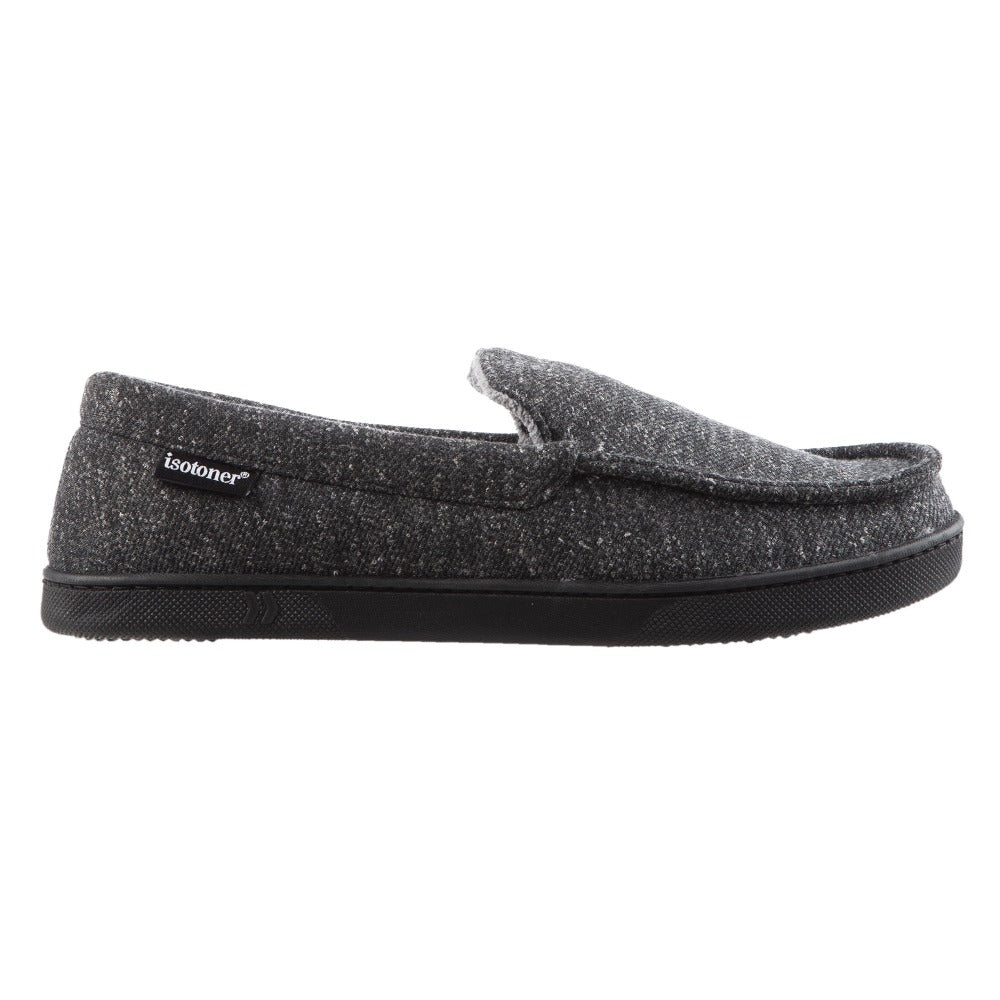 Men's Heather Knit Preston Moccasin Slippers in Dark Charcoal Heather