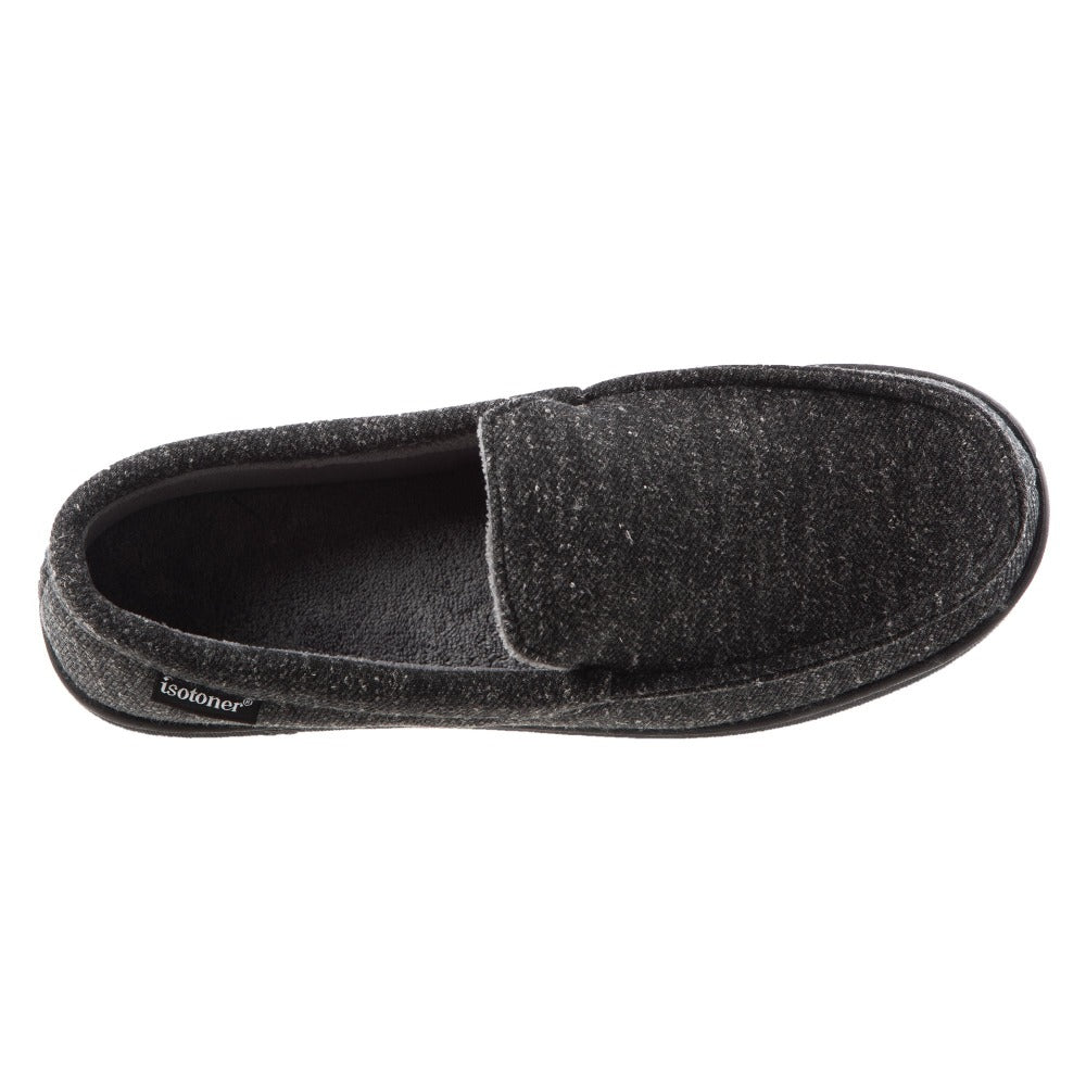 Men's Heather Knit Preston Moccasin Slippers in Dark Charcoal Heather Inside Top View