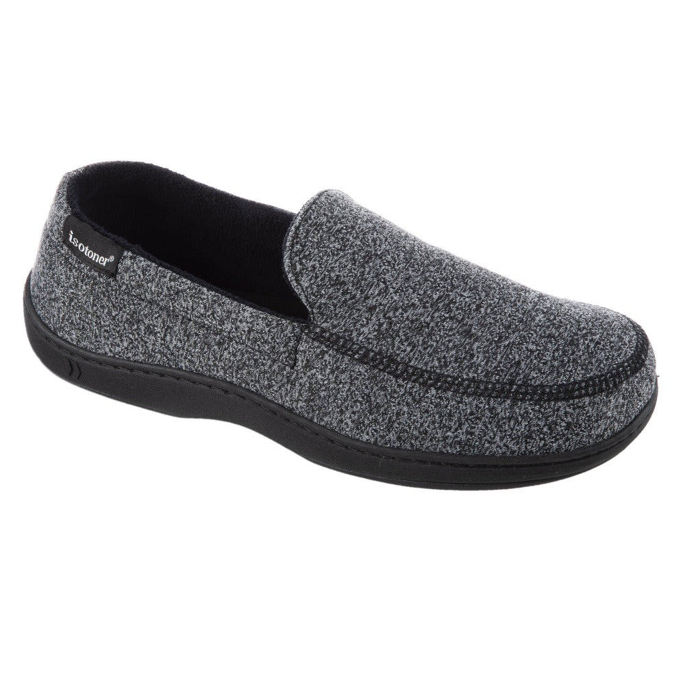 Men's Knit Ethan Moccasin Slippers in Black Right Angled View