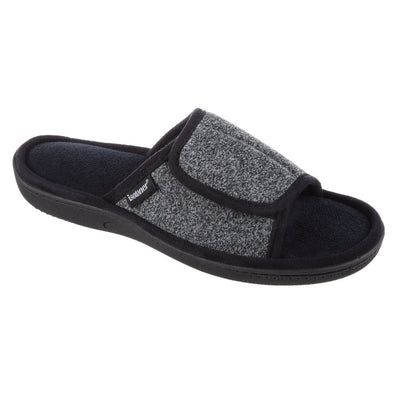 Men's Knit Ethan Slide Slippers in Black Right Angled View