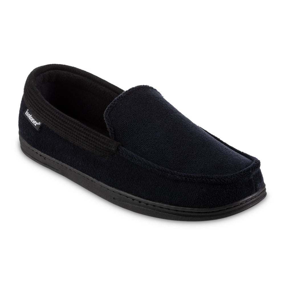 Men's Microterry and Waffle Travis Moccasin Slippers in Black Right Angled View