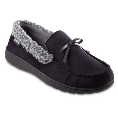 Men's Microsuede Moccasin Slippers in Black Right Angled View